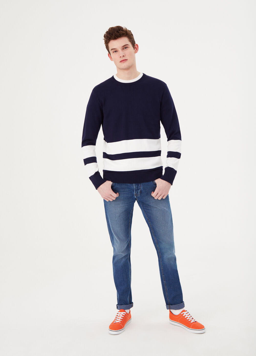 Striped pullover in 100% cotton with round neck