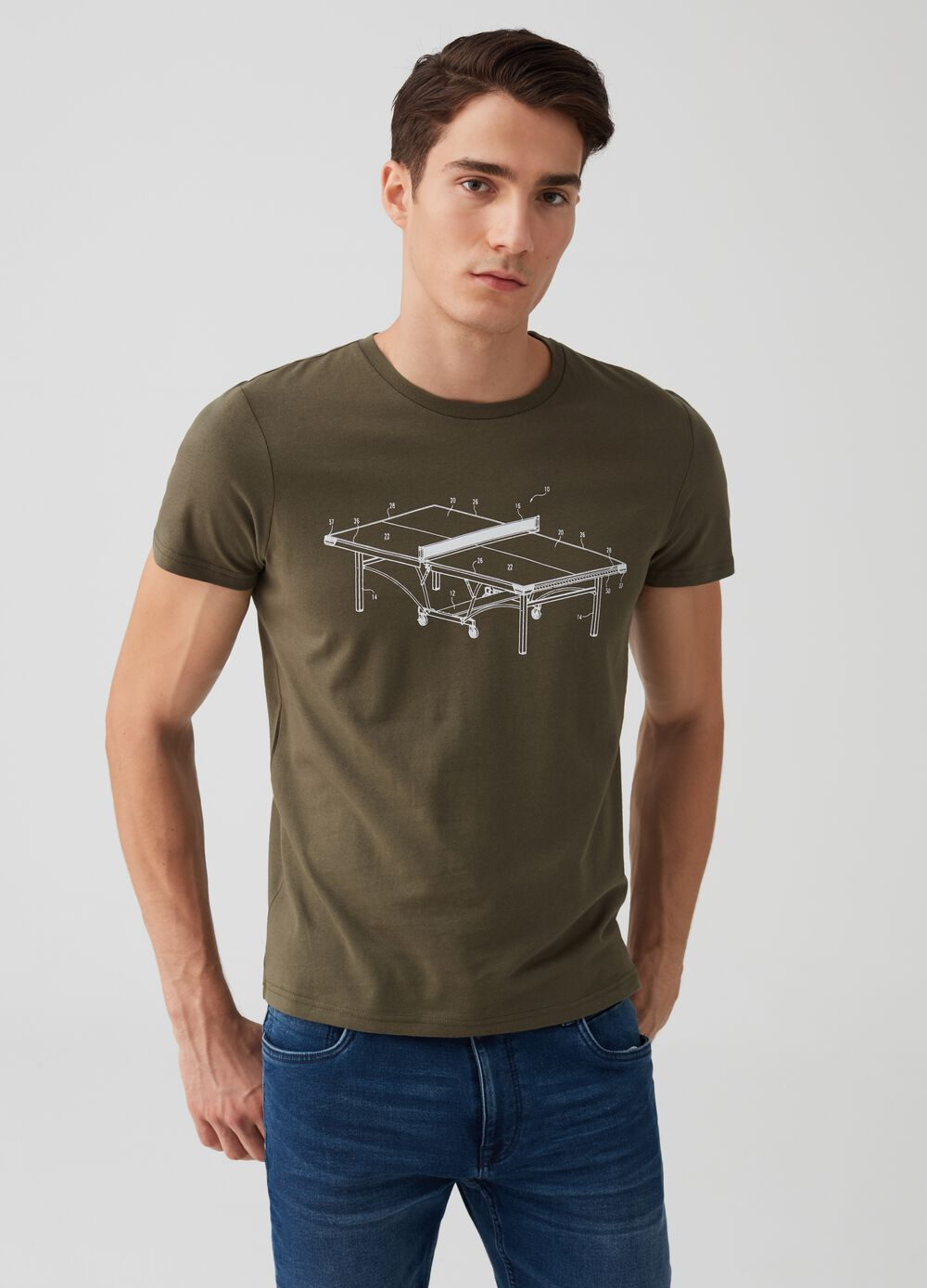 100% cotton T-shirt with ping pong print