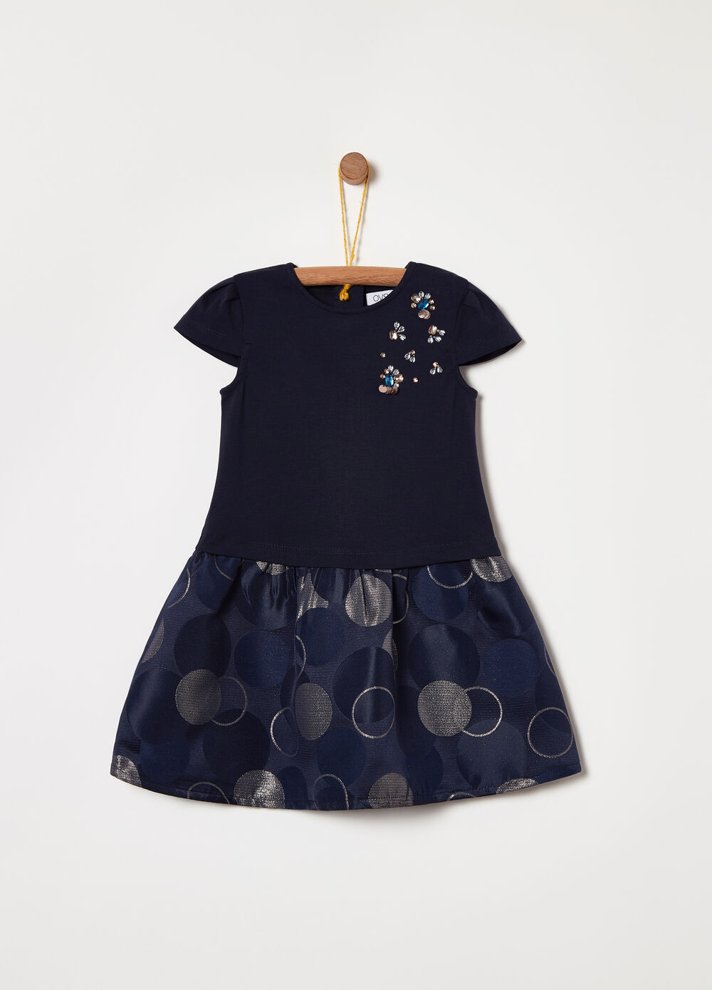 Milano-stitch dress with appliqués