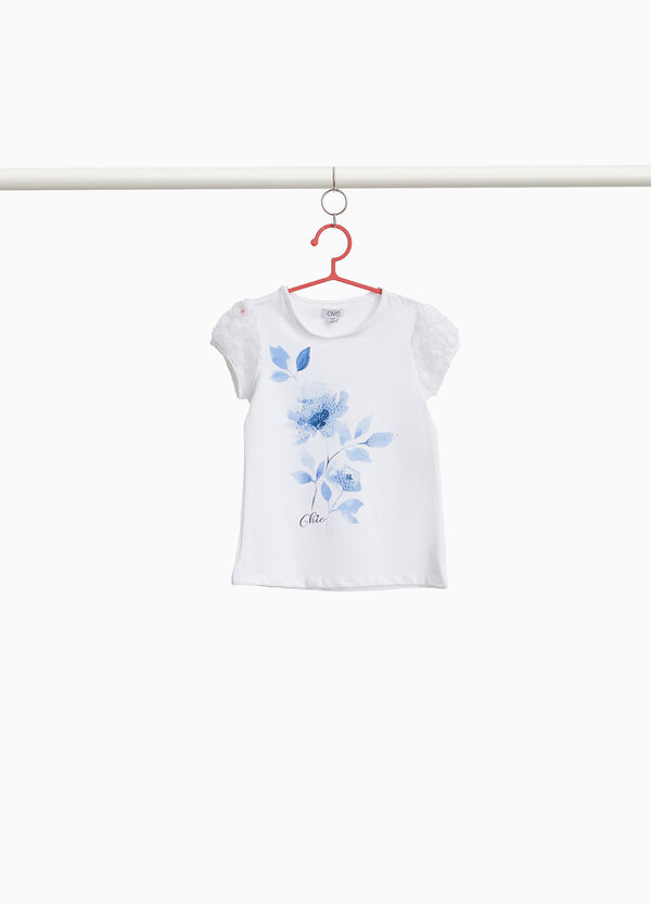 T-shirt with sleeves in floral tulle