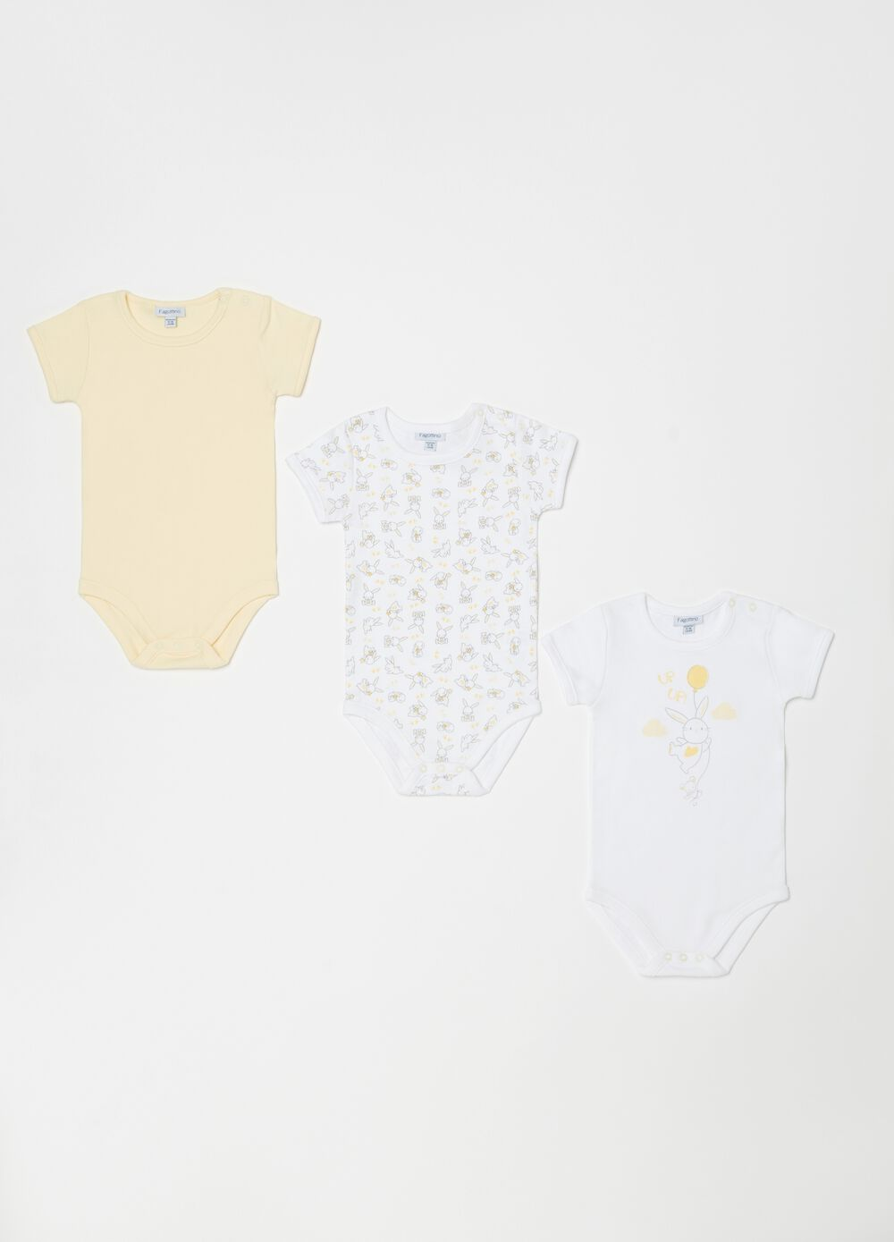 Three-pack bodysuits in 100% organic cotton with rabbits
