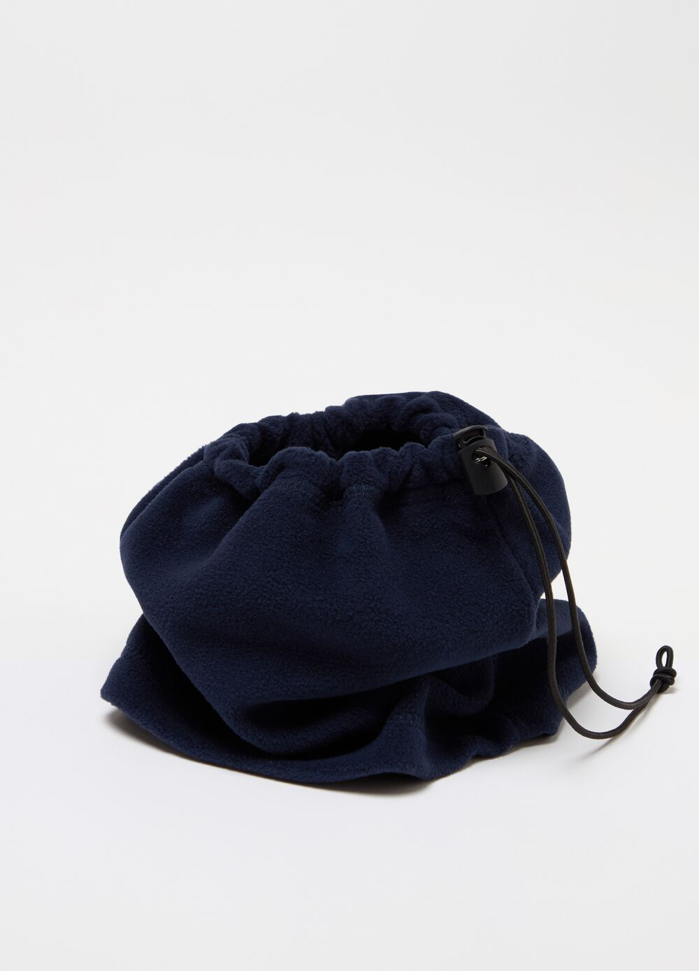 Sustainable fleece neck warmer with drawstring