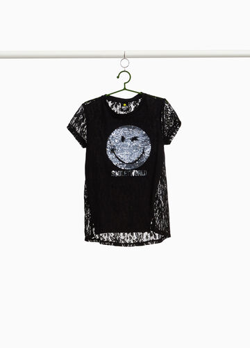Cotton lace and Smiley sequin T-shirt