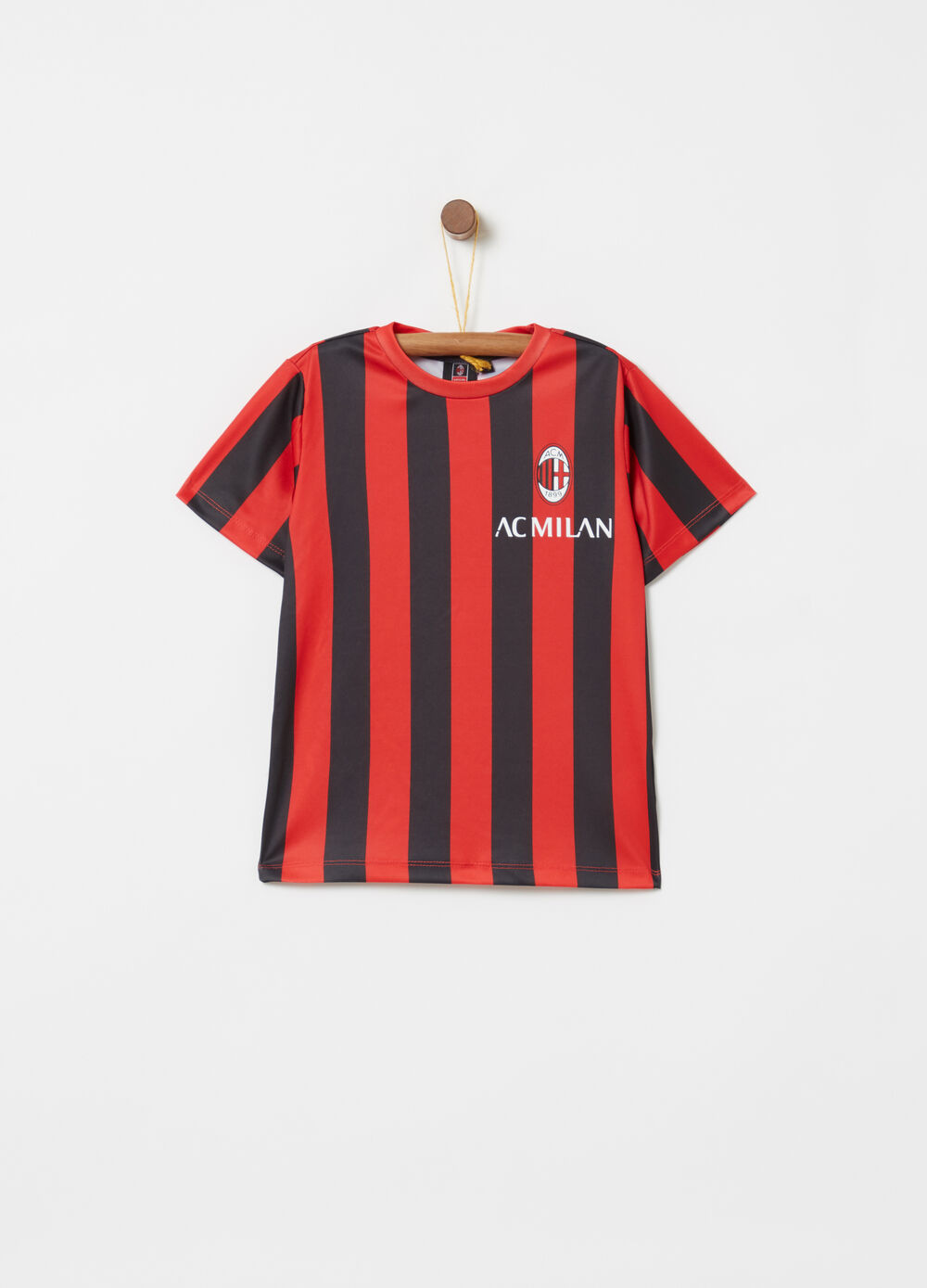 T-shirt with Milan print and stripes