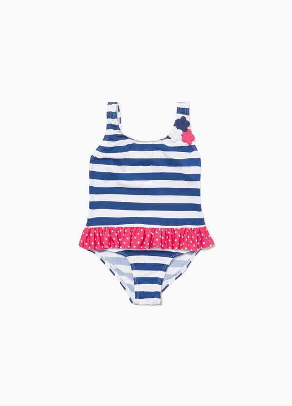 Stretch striped one-piece swimsuit with flounce
