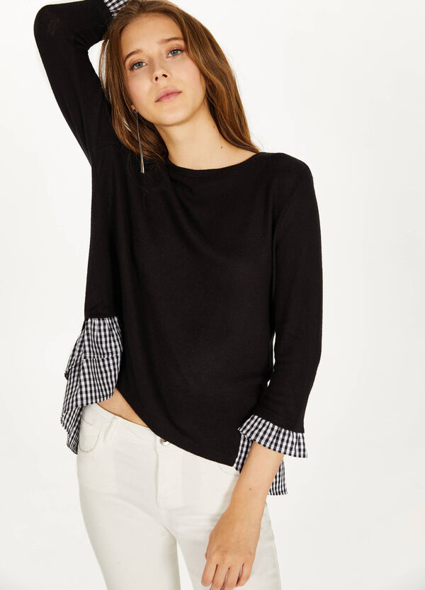 Stretch sweatshirt with checked flounces