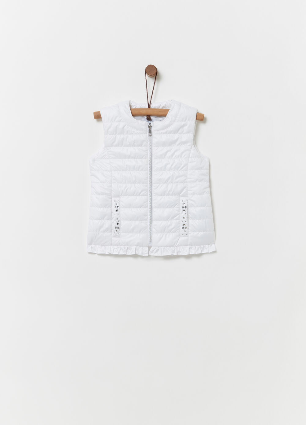 Padded gilet with pockets and diamantés