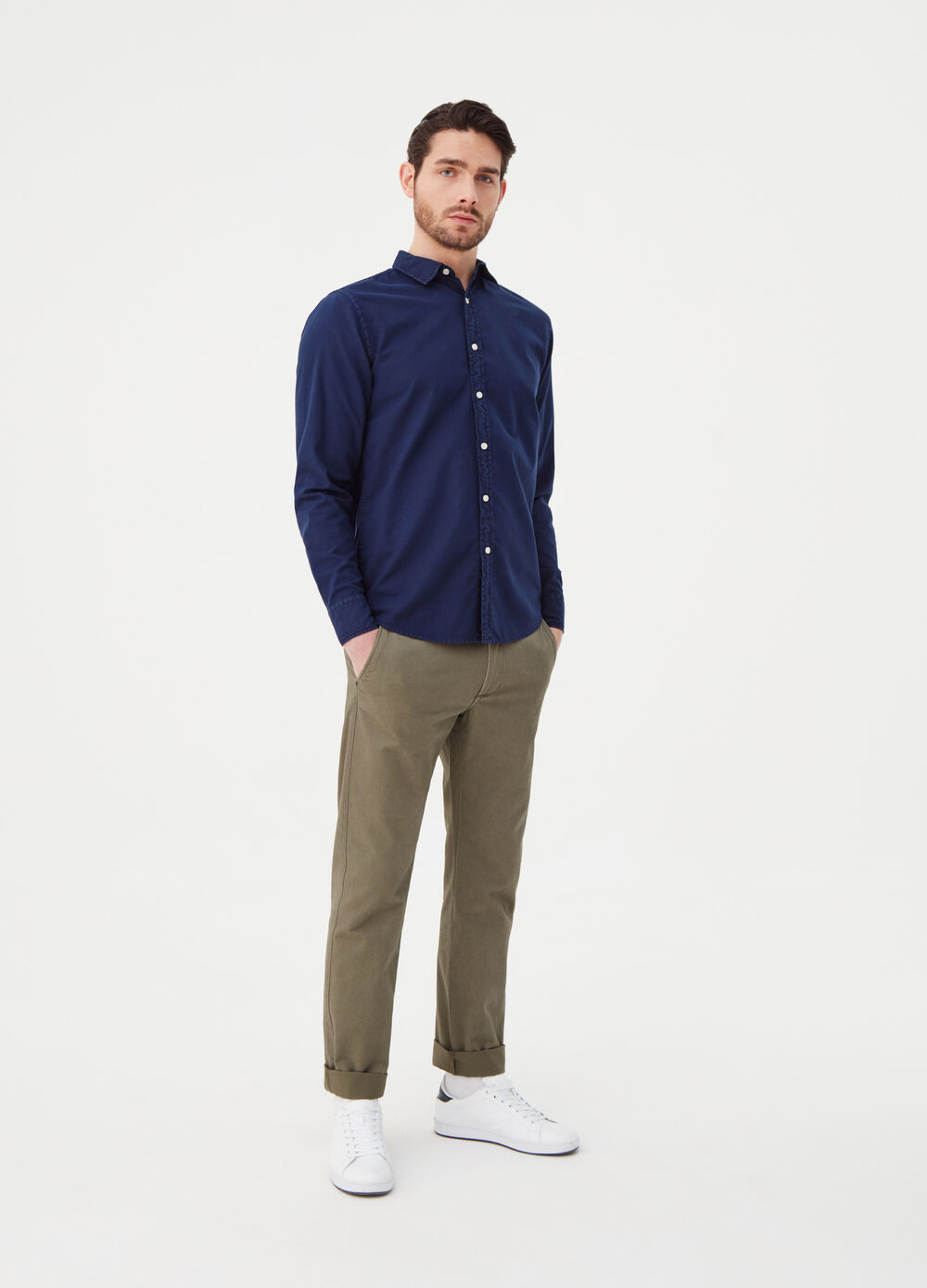 Regular-fit shirt in solid colour Oxford
