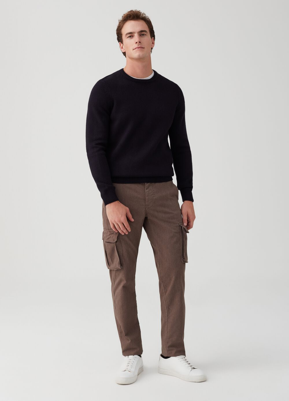Slim-fit, stretch, cargo-cut chino trousers