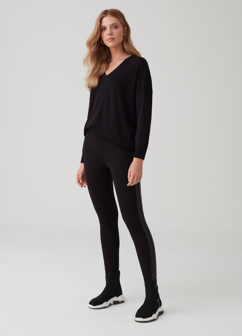 Stretch cotton leggings with insert