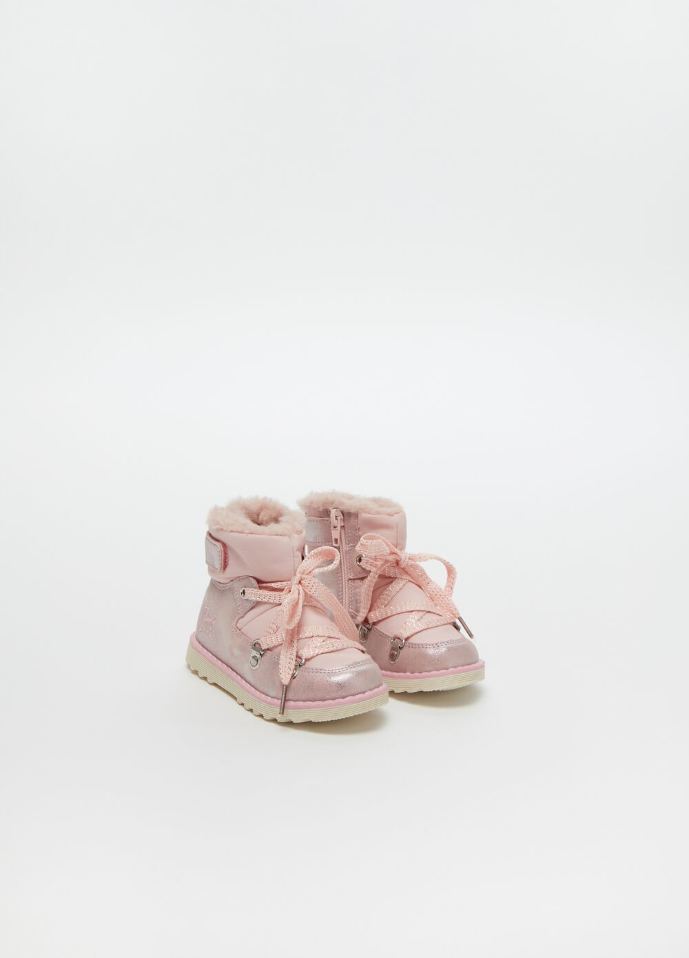 High-top glitter boots with laces