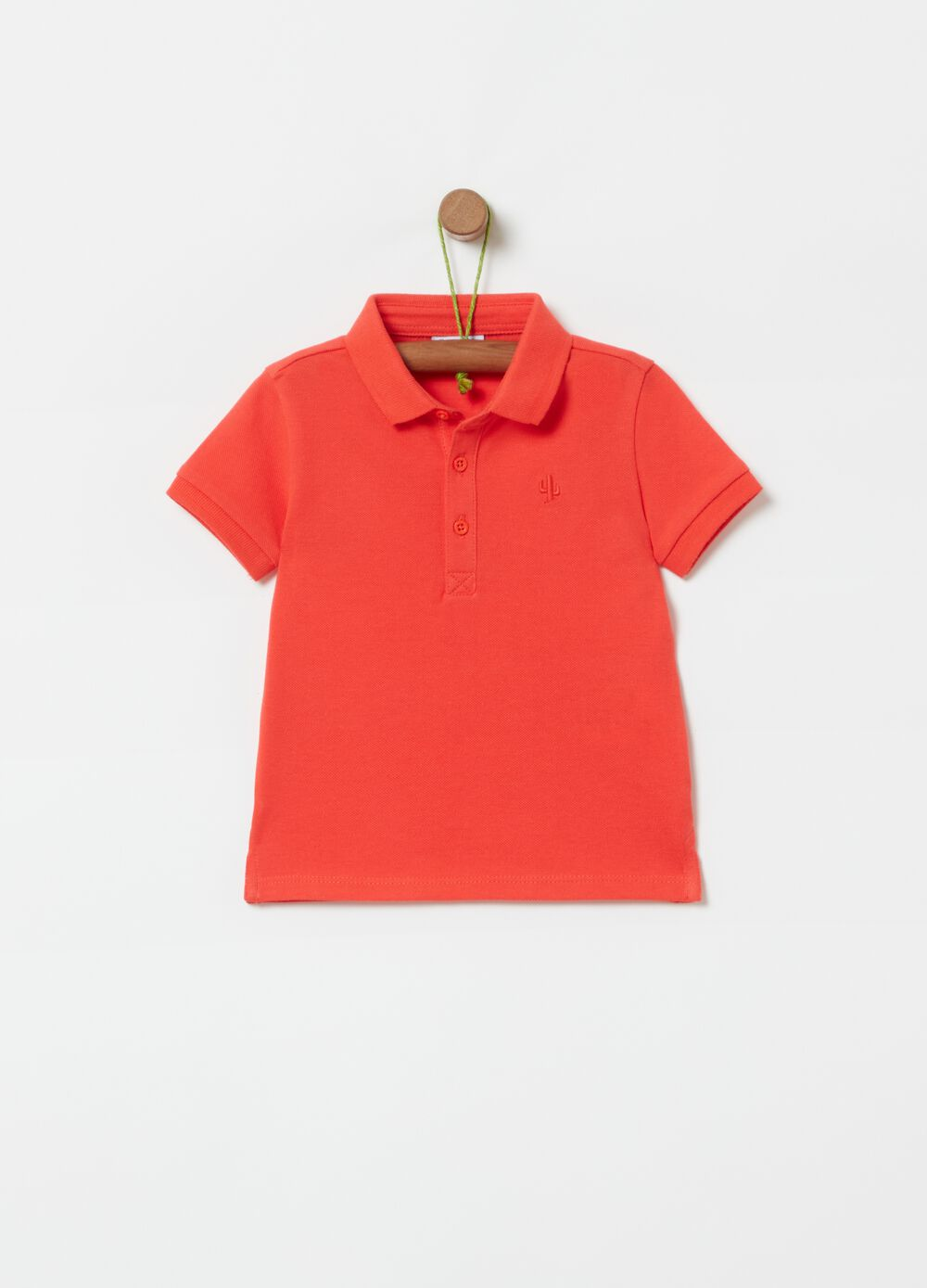 100% organic cotton polo shirt with cactus embroidery