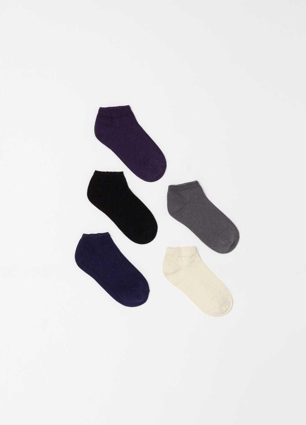 Five-pair pack shoe liners with ribbing