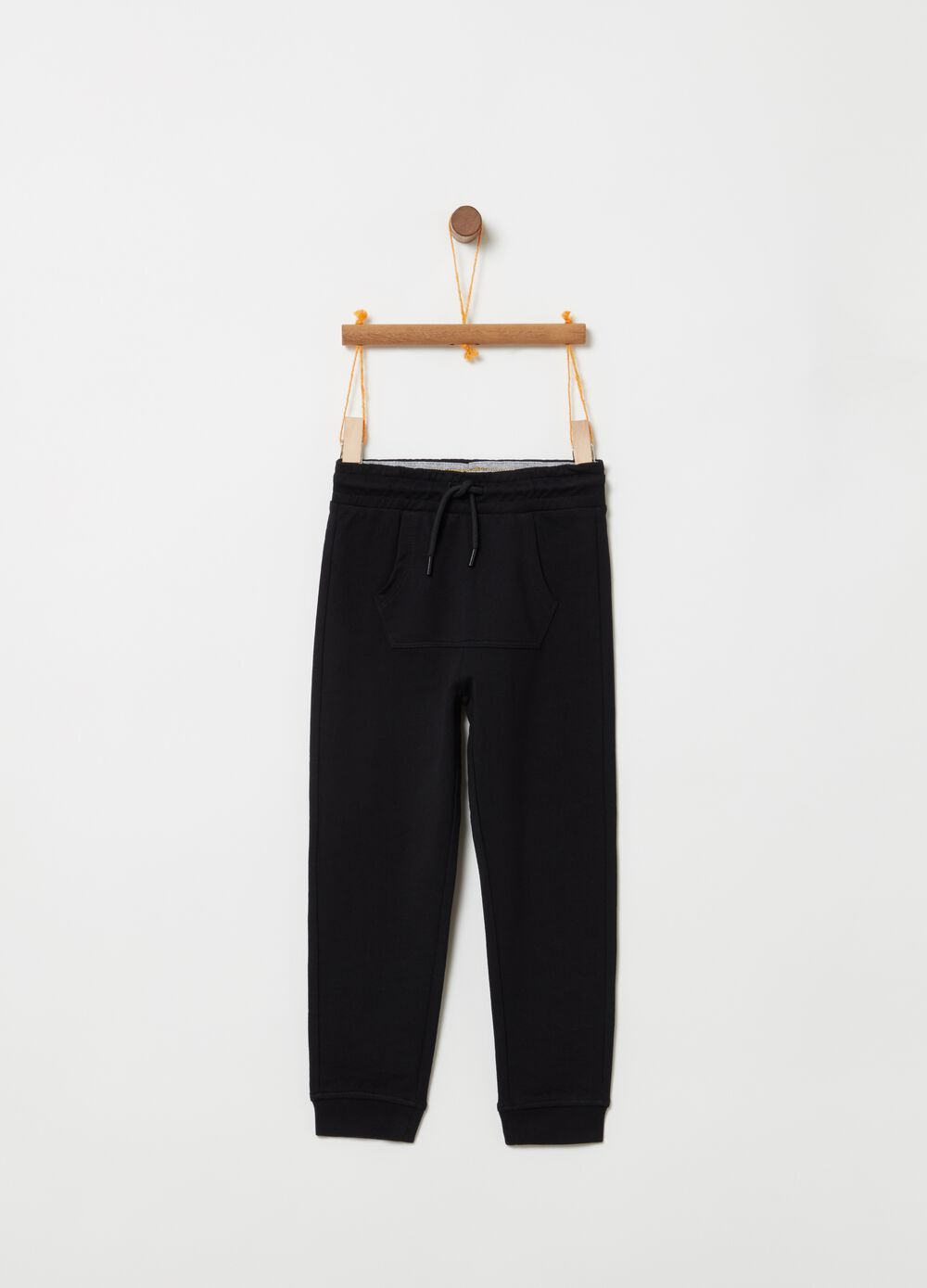Organic cotton French terry trousers with pocket