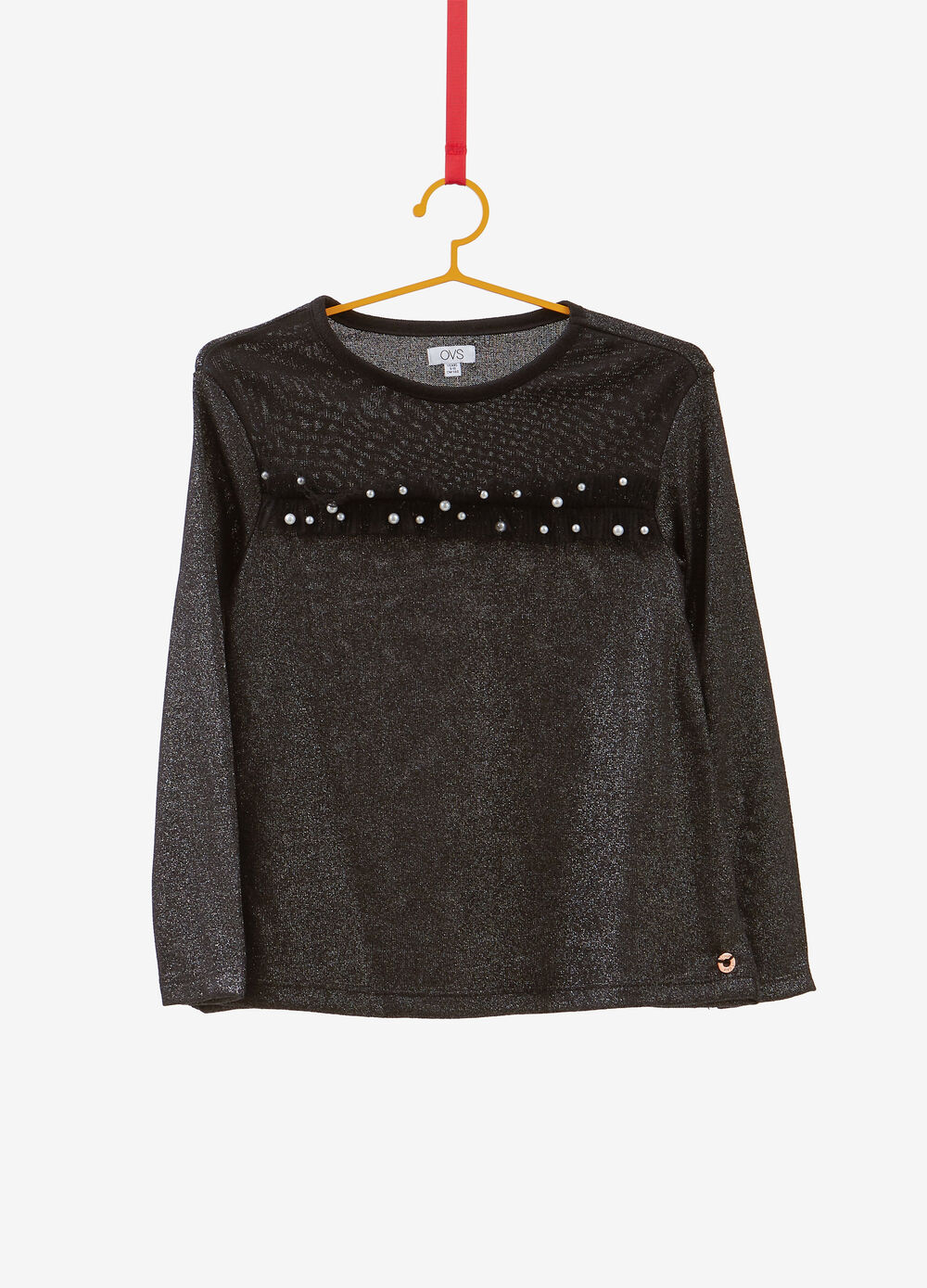Stretch glitter T-shirt with beaded insert