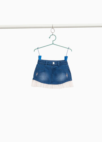 Stretch denim skirt with pleated tulle