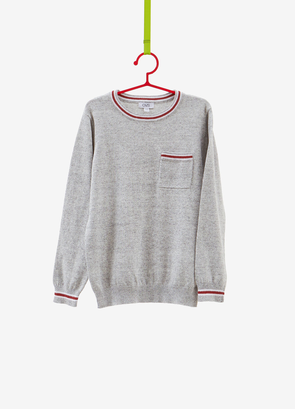 Knitted cotton pullover with striped ribbing