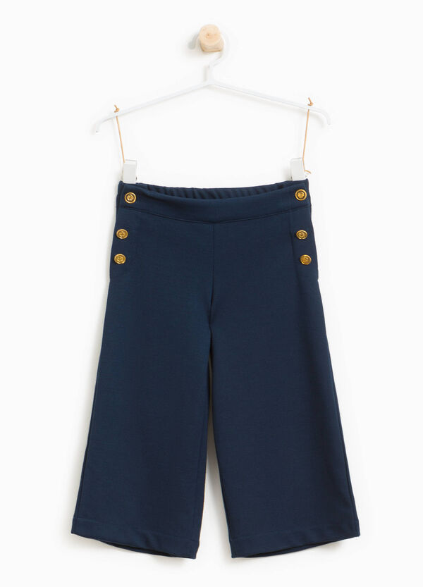 Stretch viscose blend trousers with buttons | OVS