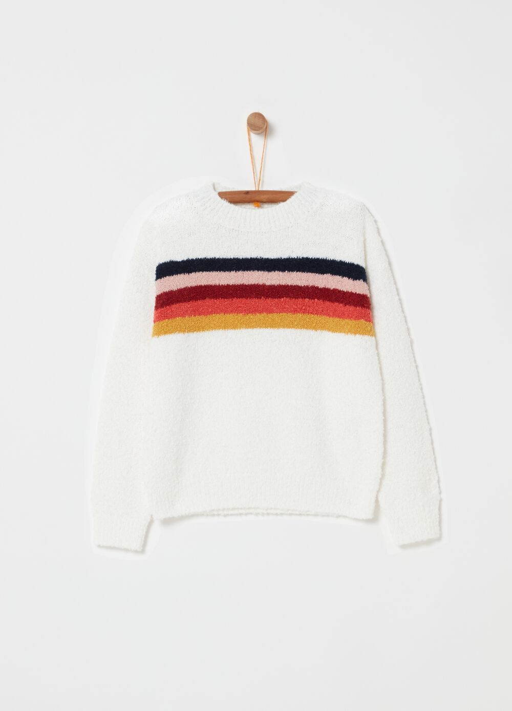 Knitted top with striped embroidery and ribbing