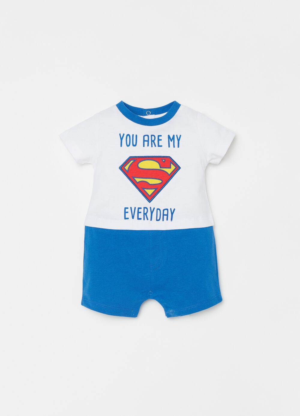 Short romper suit with Superman print