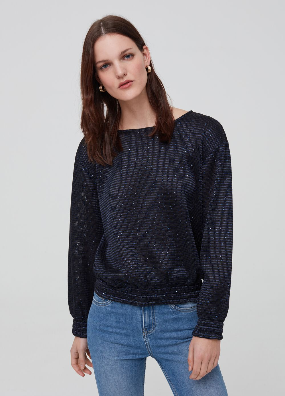 Long-sleeved glitter T-shirt