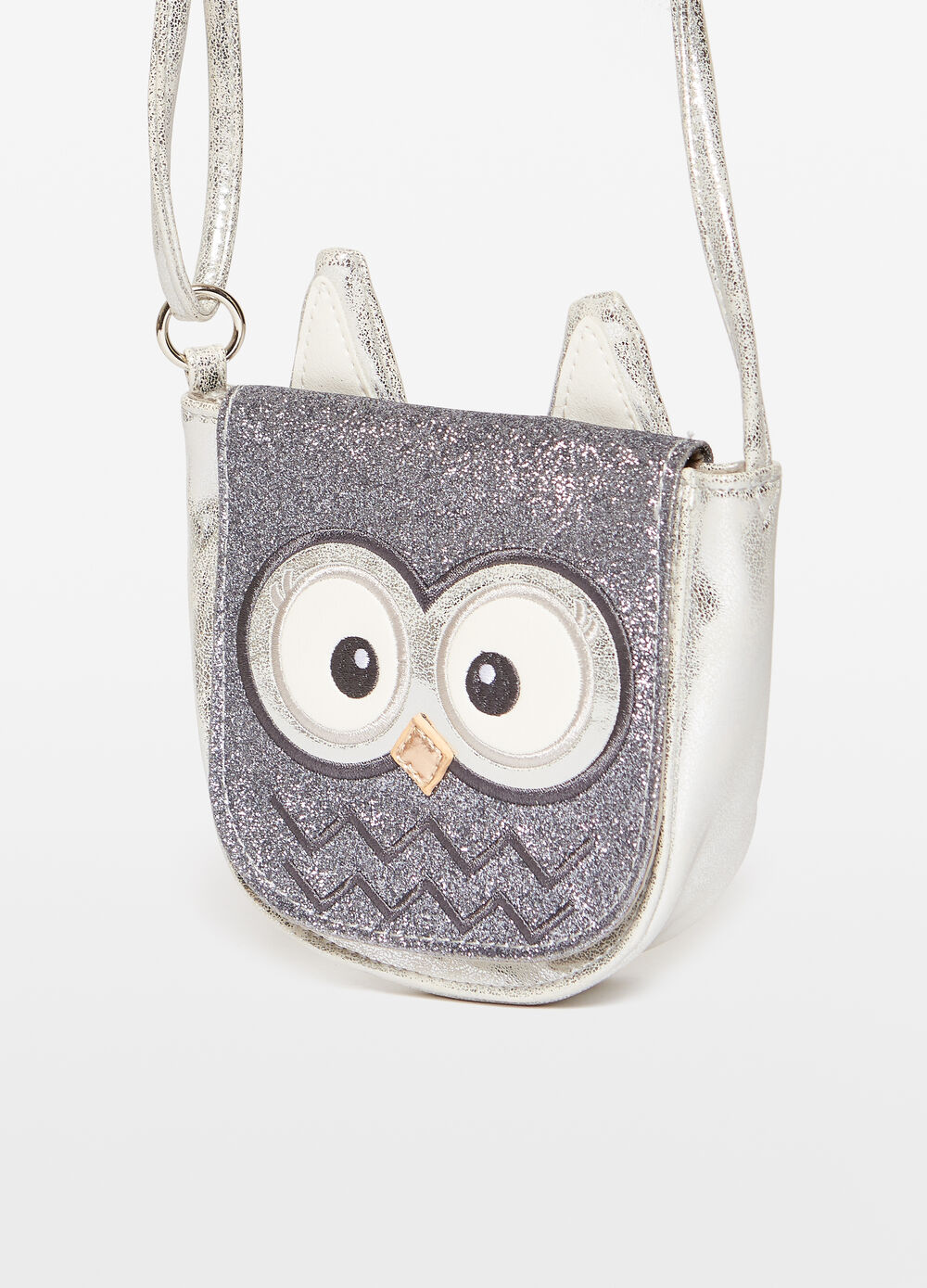Shoulder bag with glitter owl embroidery