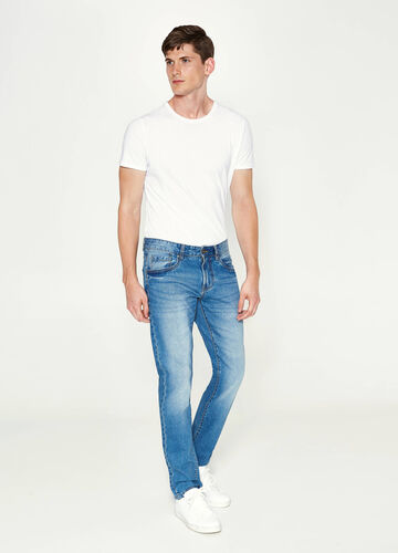 Straight-fit worn-effect jeans with whiskering