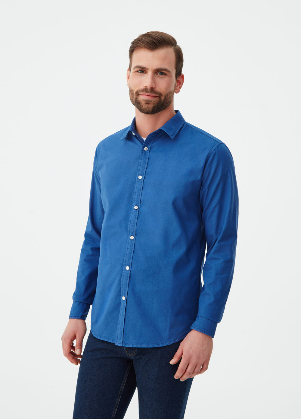 Solid colour regular-fit Oxford shirt