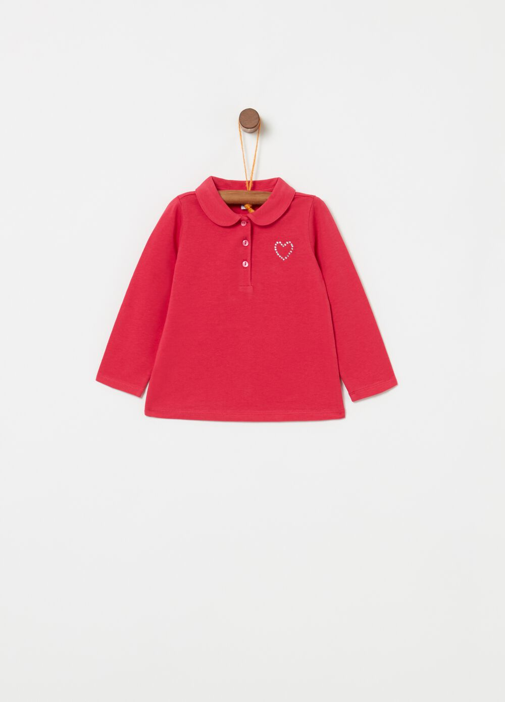 Solid colour long-sleeved polo shirt with diamante'