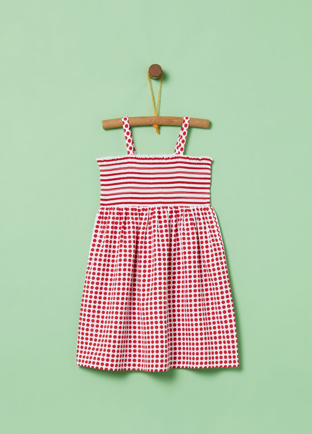 Striped and polka dot smocked sleeveless dress