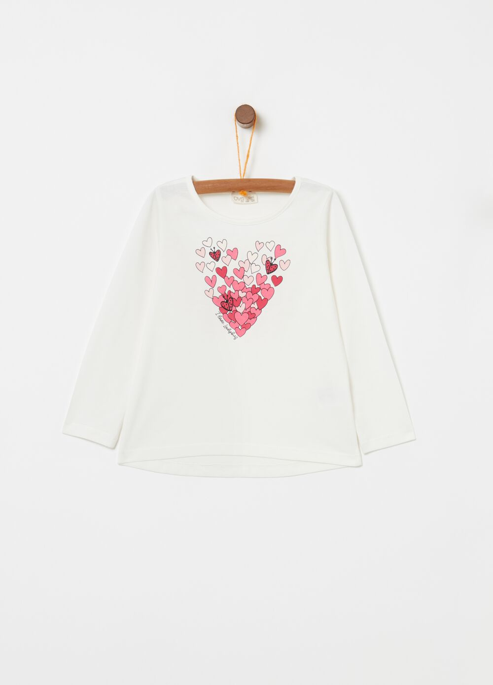 100% cotton T-shirt with heart print