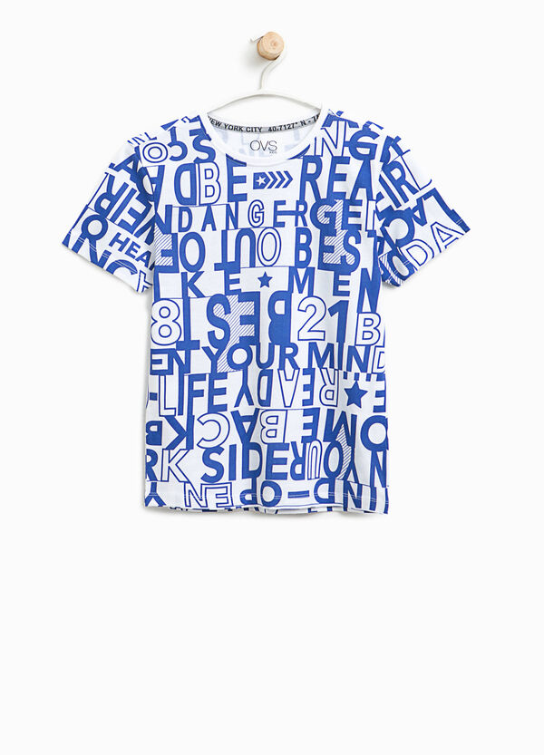 Lettering patterned cotton T-shirt | OVS
