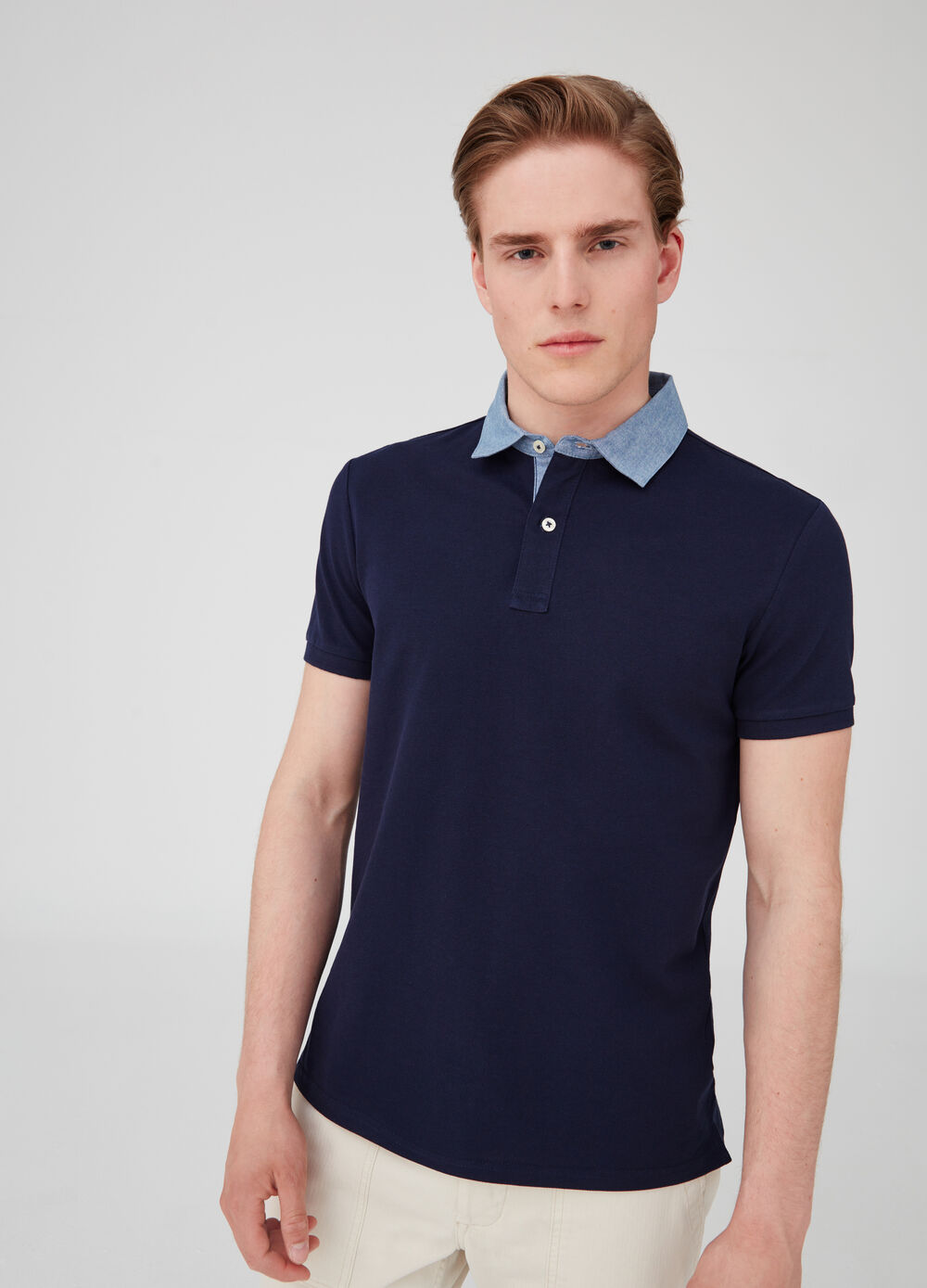 Iridescent poplin polo shirt with opening