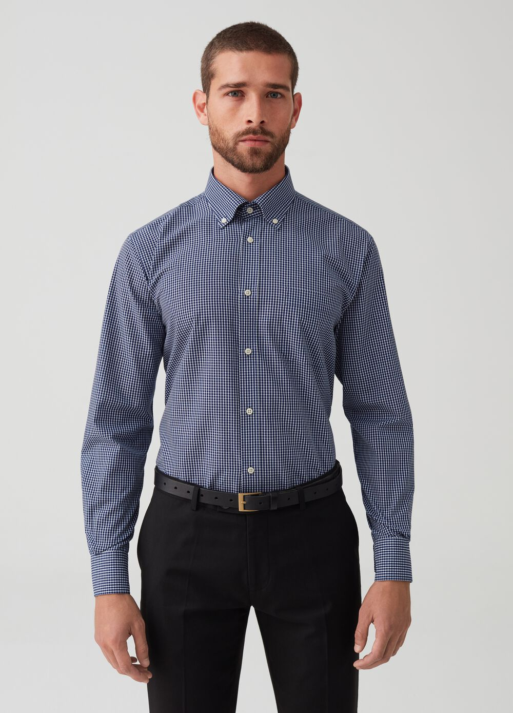 Regular fit shirt with check pattern
