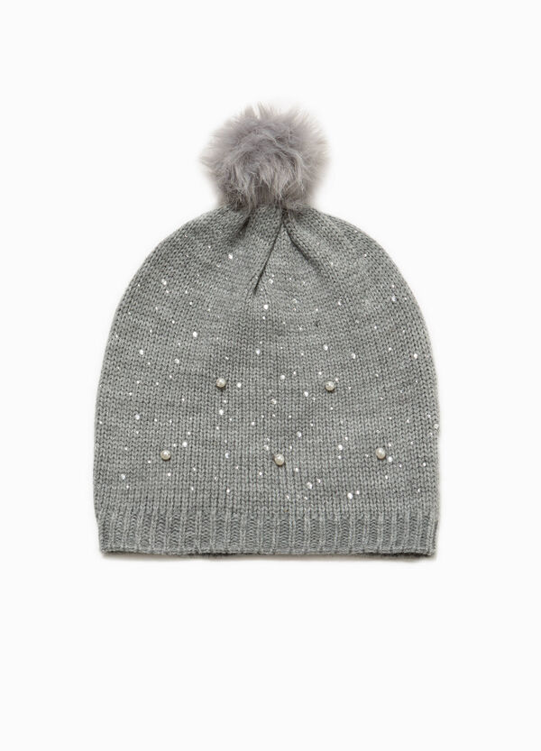 Beanie cap with pompom and beads | OVS