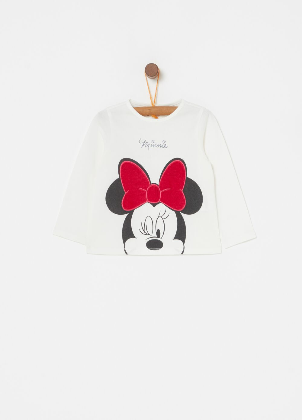 Biocotton T-shirt with embroidery and Minnie Mouse print