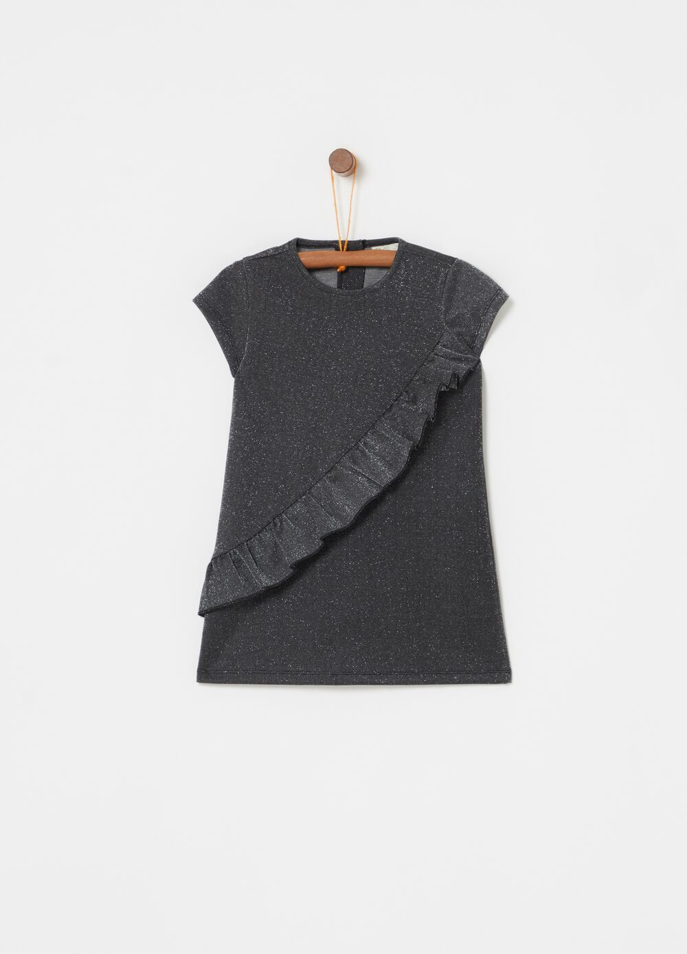 Stretch dress with lurex and frills