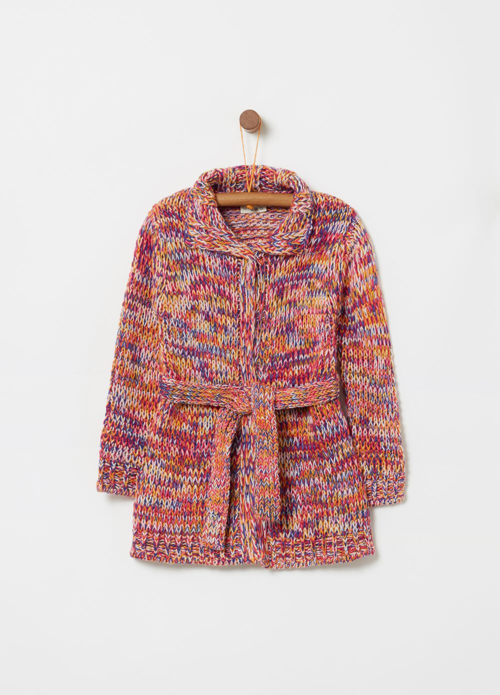 Multi-coloured maxi knitted cardigan with lurex