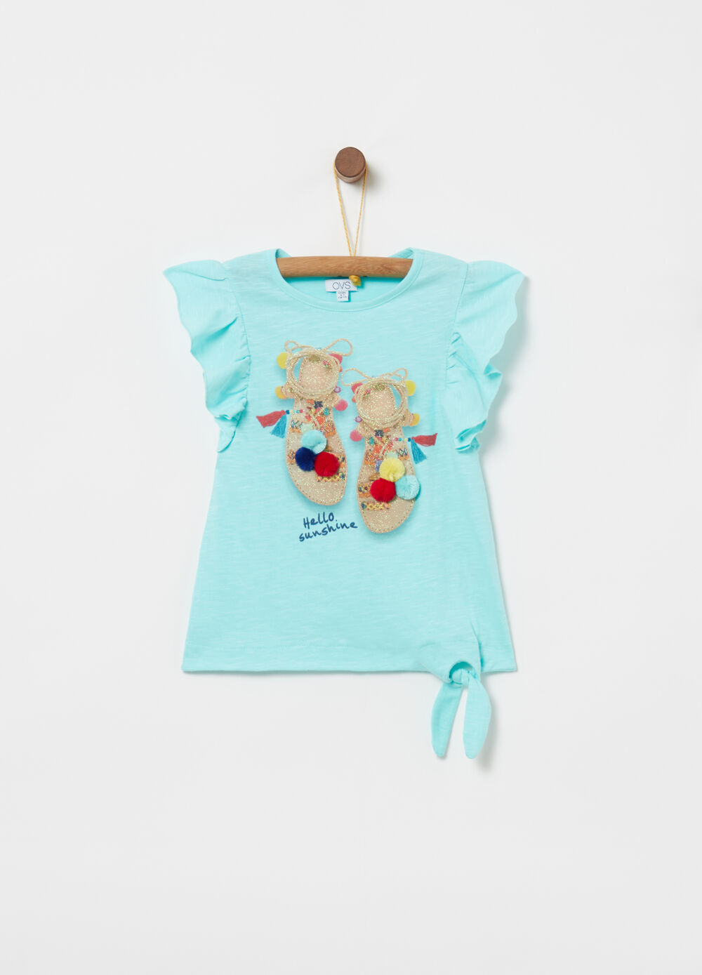 T-shirt in organic cotton with pompoms