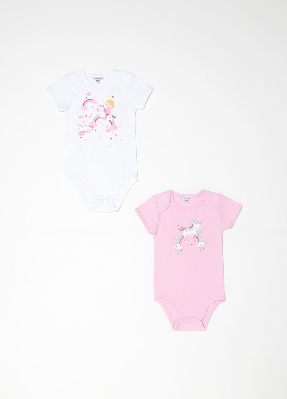 Two-pack printed bodysuits in 100% organic cotton