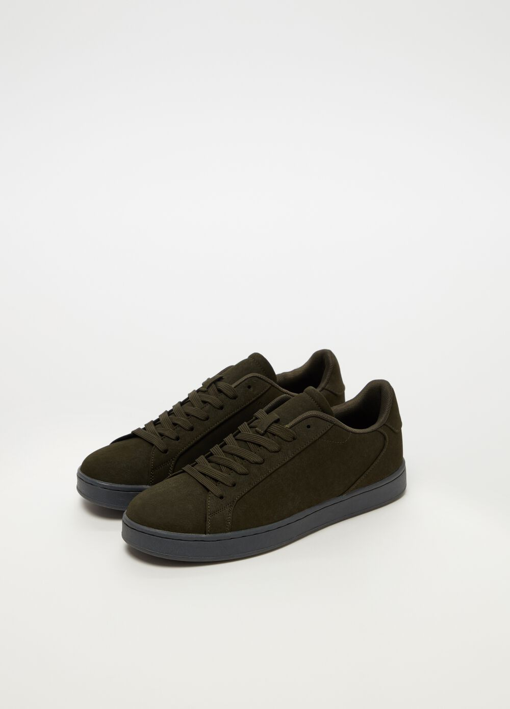 Suede-effect sneakers with laces