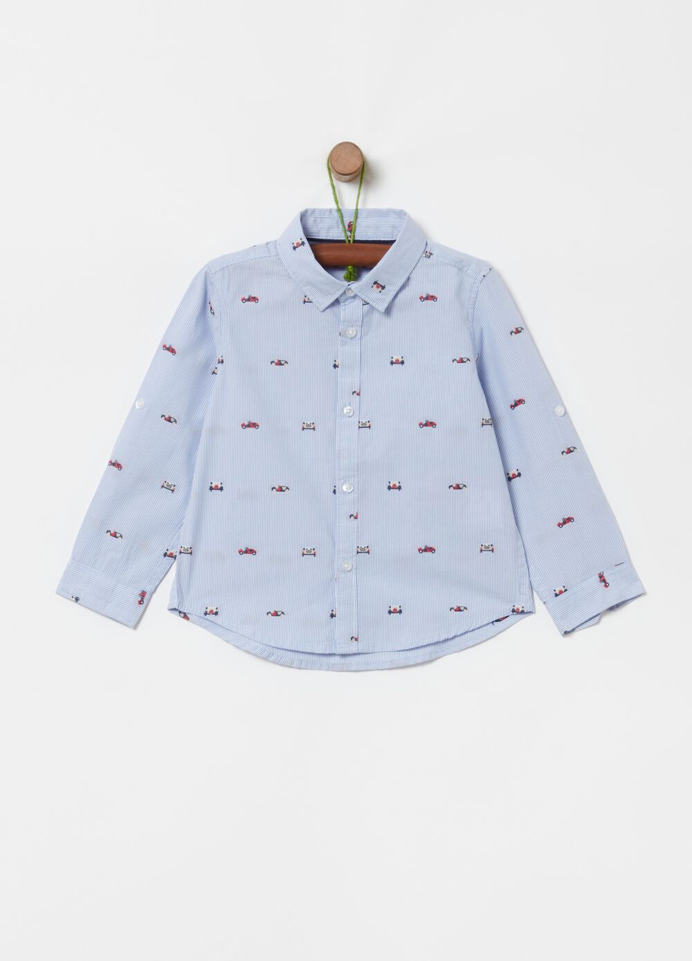 100% organic cotton shirt with all-over embroidery