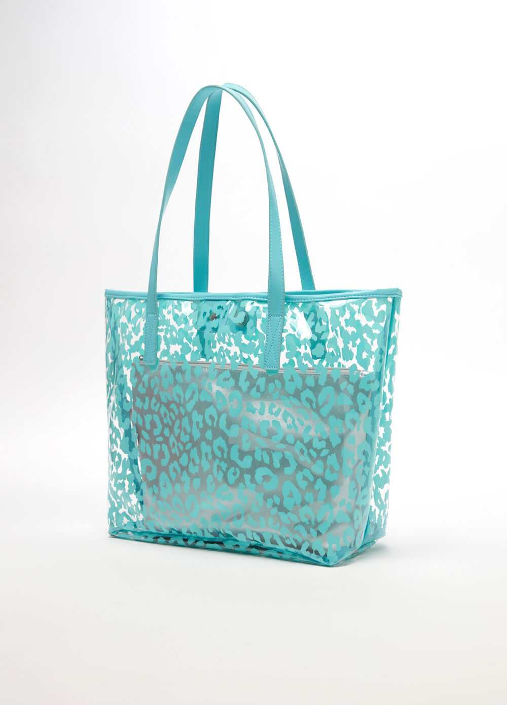 Animal print beach bag with beauty case
