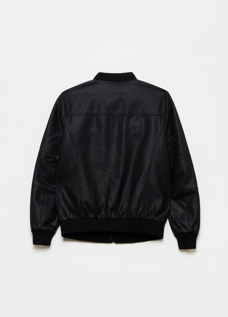 Full-zip bomber jacket with ribbed collar image number null