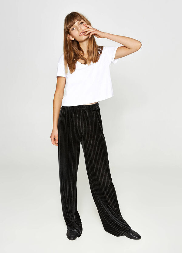 Stretch striped palazzo trousers