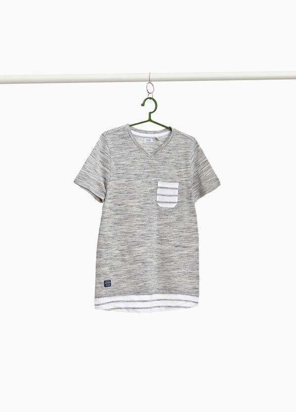 Mélange cotton blend T-shirt with stripes