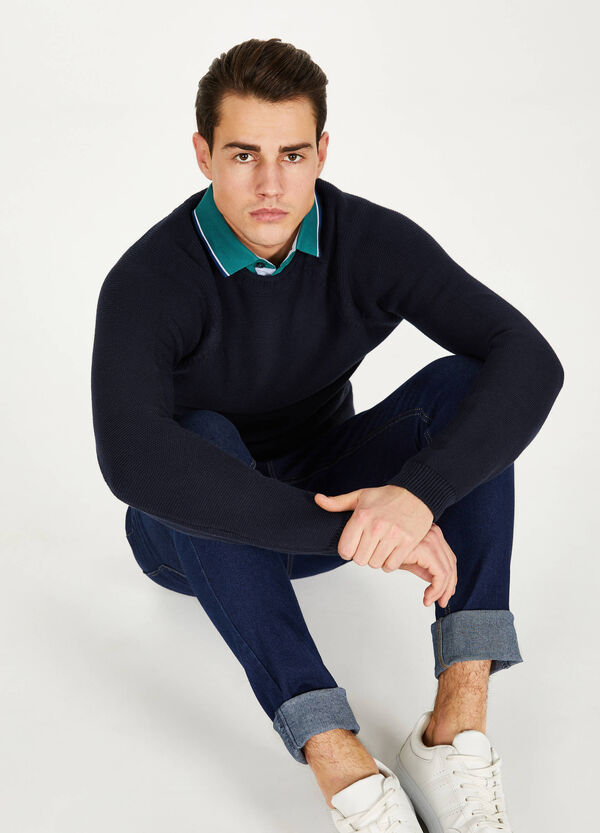 100% cotton pullover with raised weave