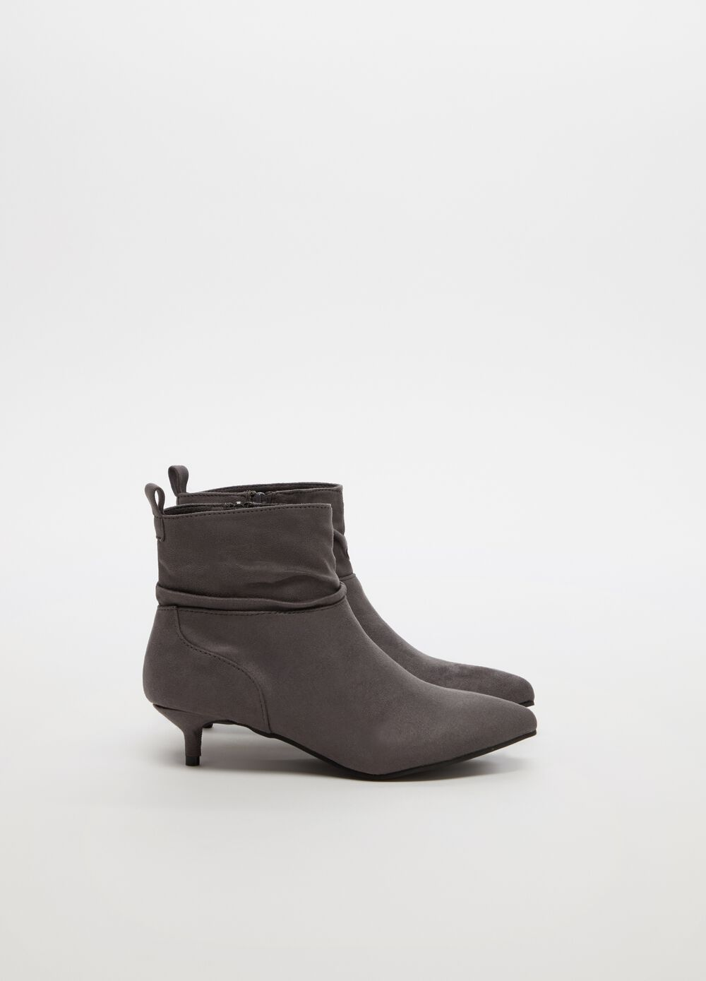 Microfibre ankle boots with slender heel