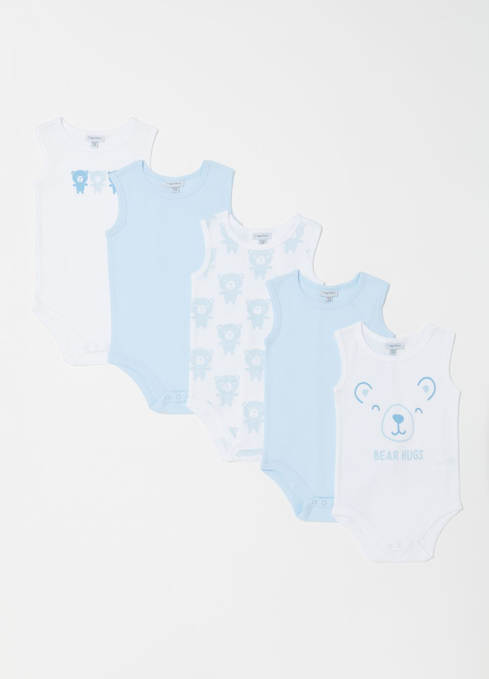 Five-pack ribbed bodysuits pattern and print