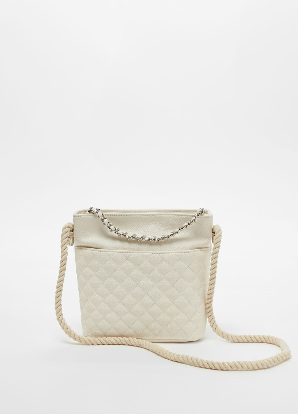 Quilted bucket bag with shoulder strap